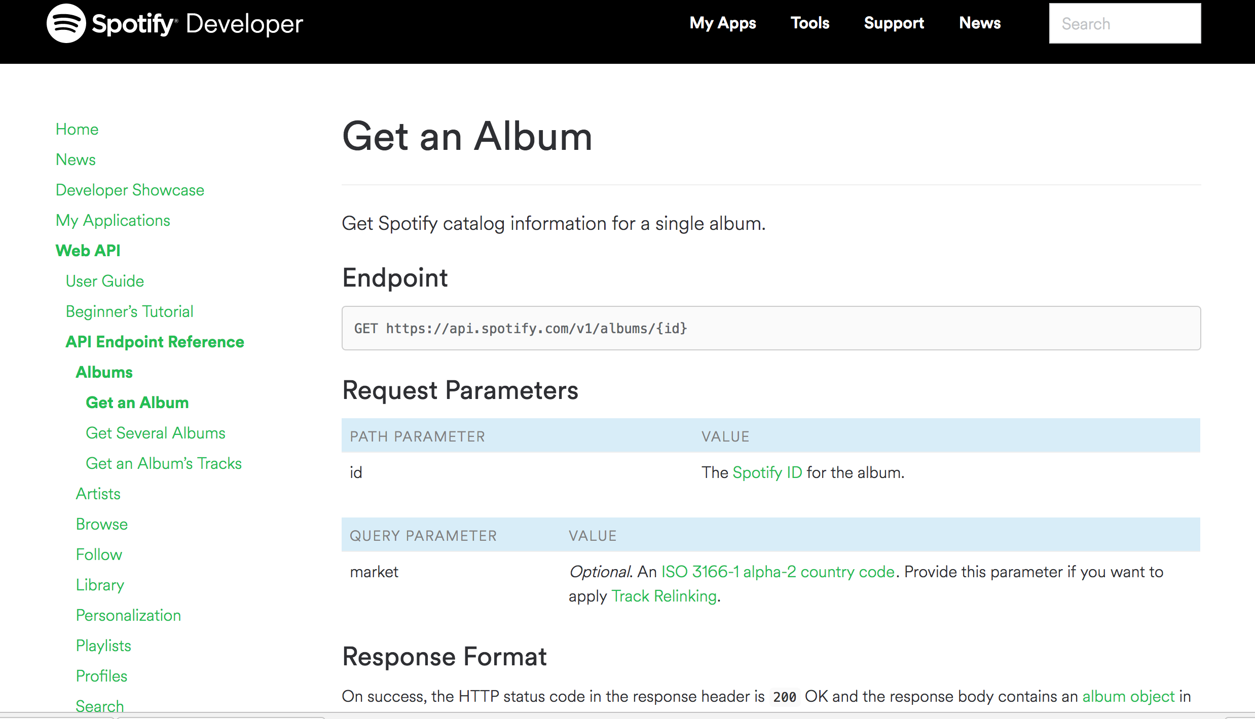 GET example using Spotify API