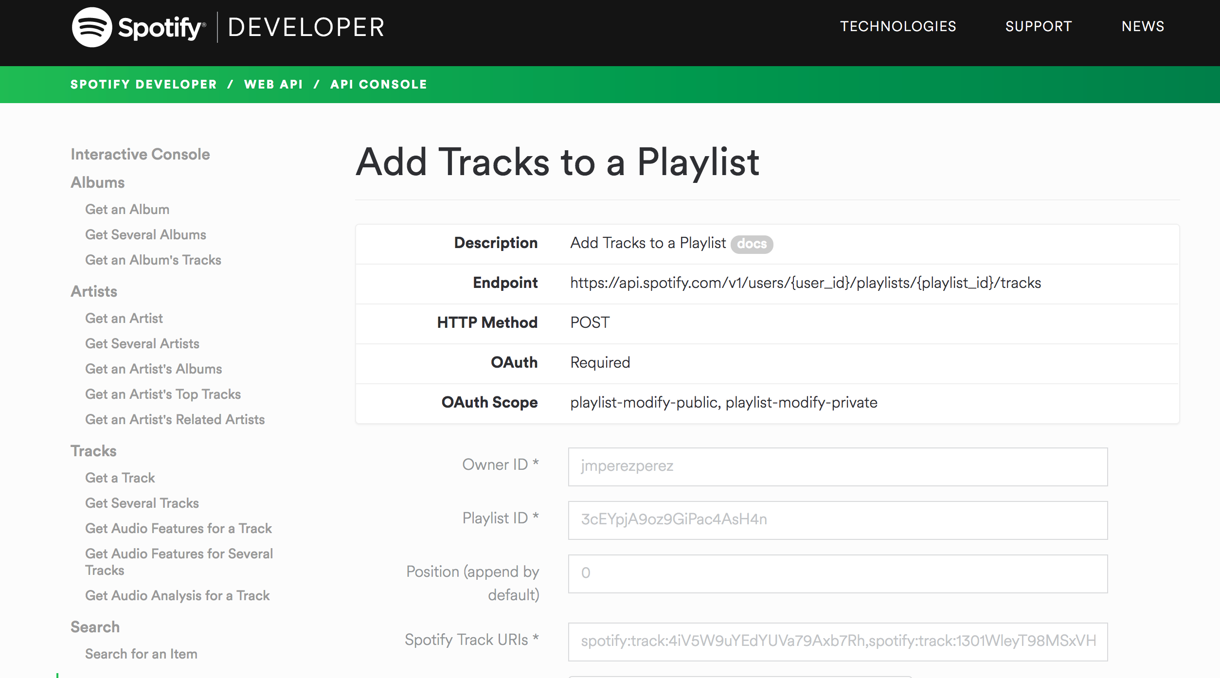 POST example using Spotify API