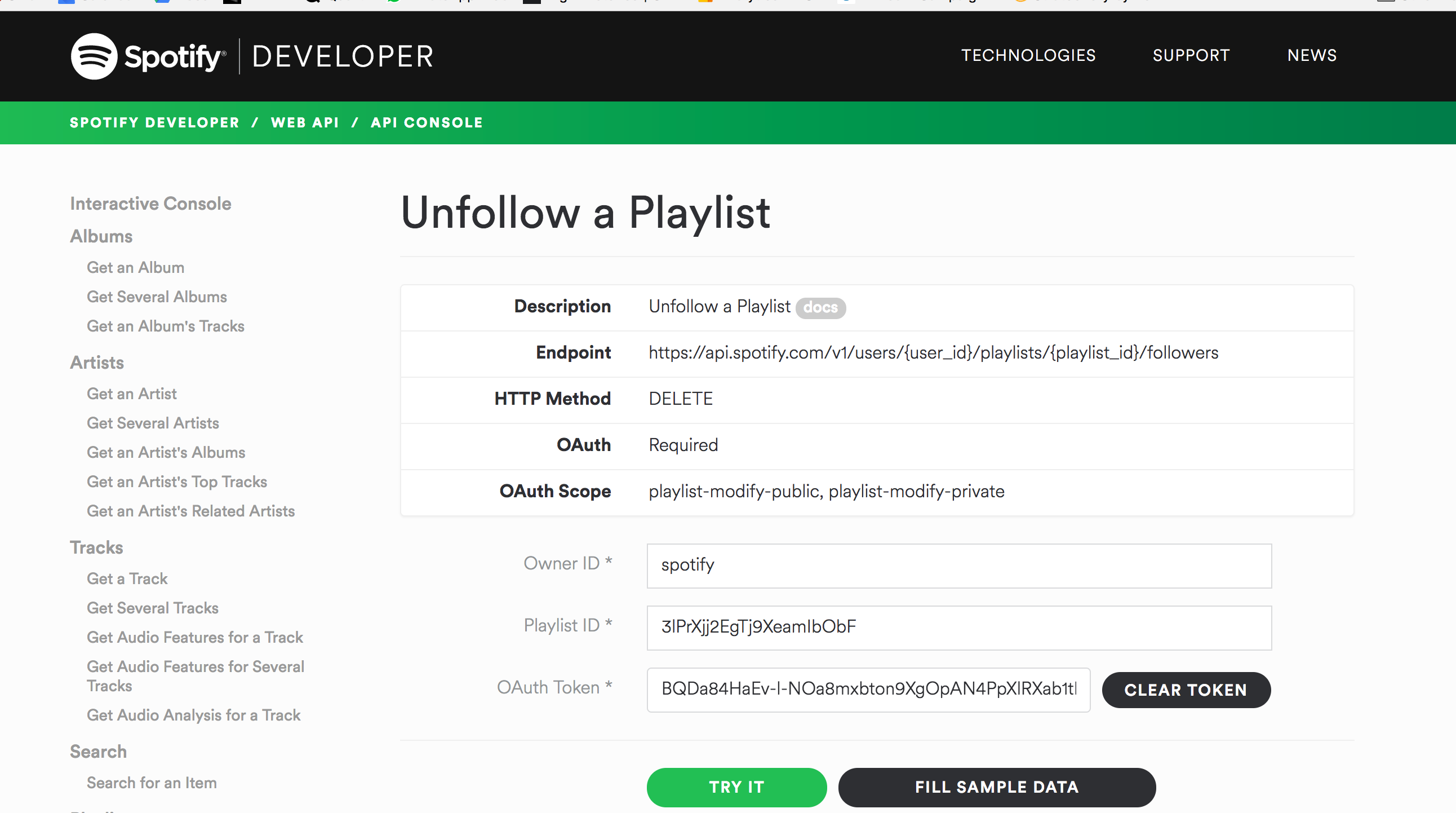API DELETE example using Spotify