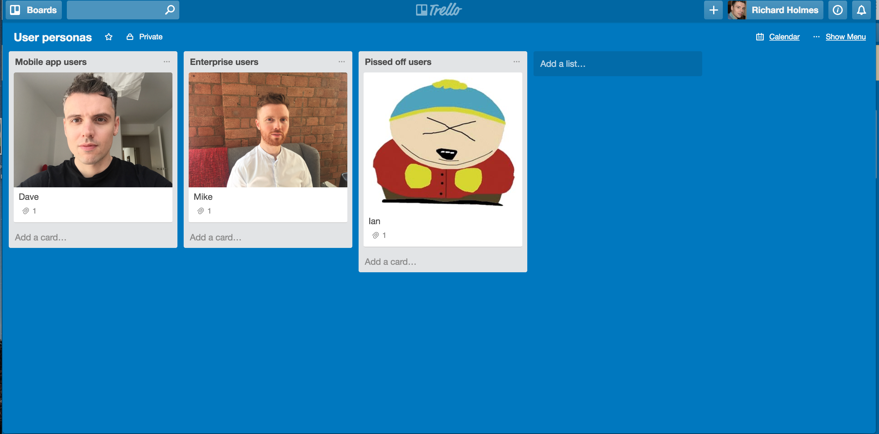 trello board template for personas