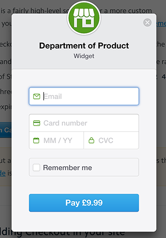 example payment form