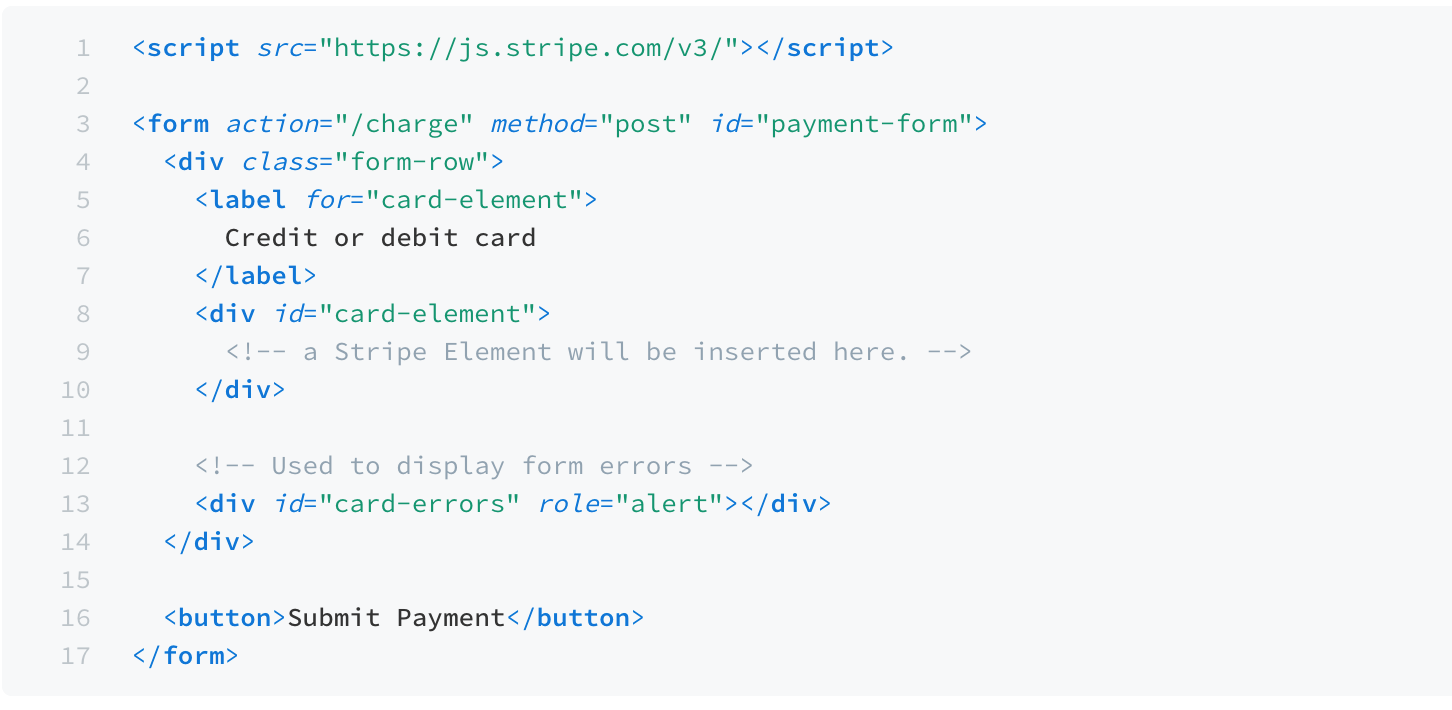 snippet for creating payment forms