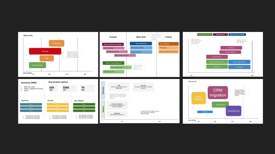 product roadmap templates